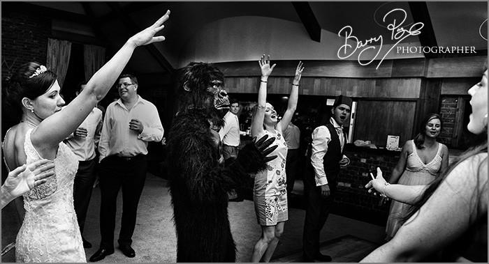 Wedding Photography by Barry Page, dancing gorilla