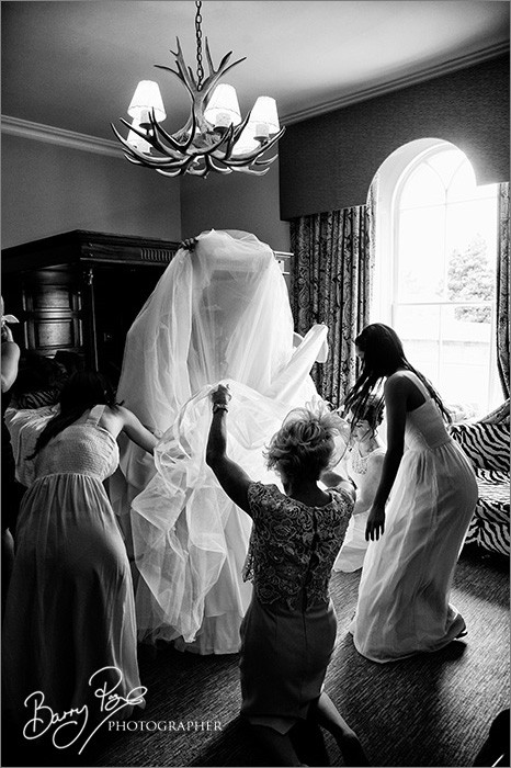 bride with dress held up