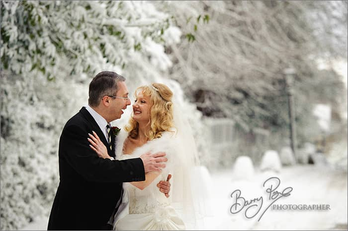 white wedding snow