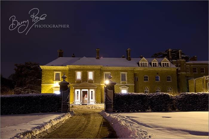 west heath at night in snow