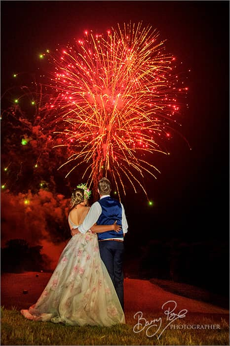 wedding couple watch fireworks