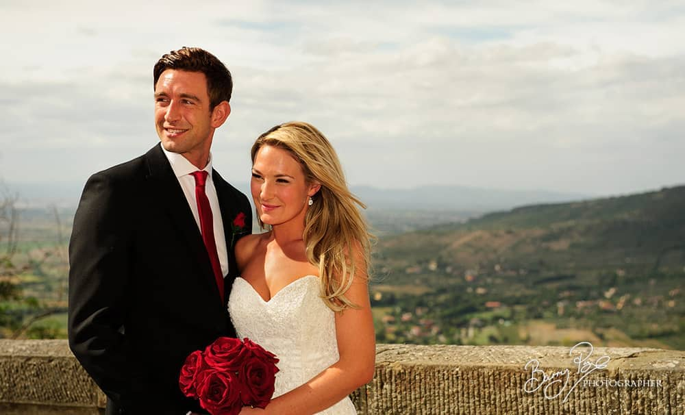 cortona italy wedding by barry page view from cathedral