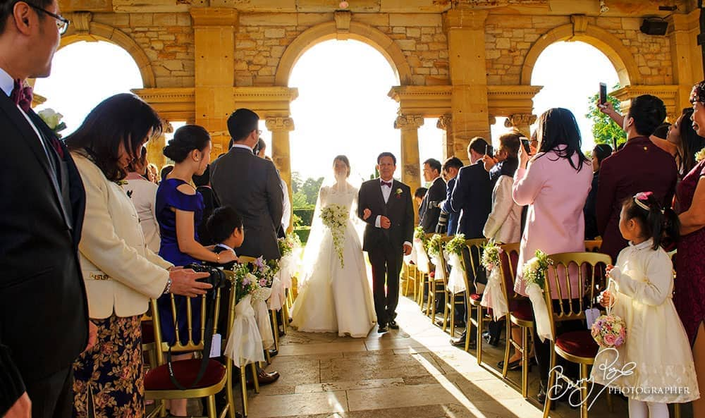 hever castle ceremony bride aisle walk