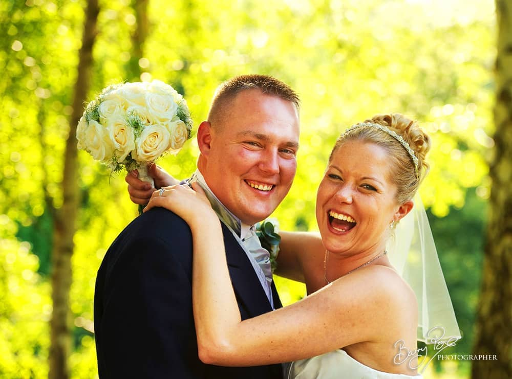 bride and groom having great time