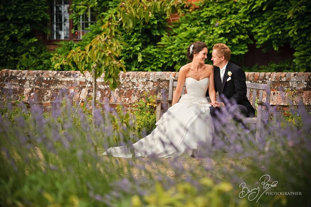 bride and groom in lavender garden