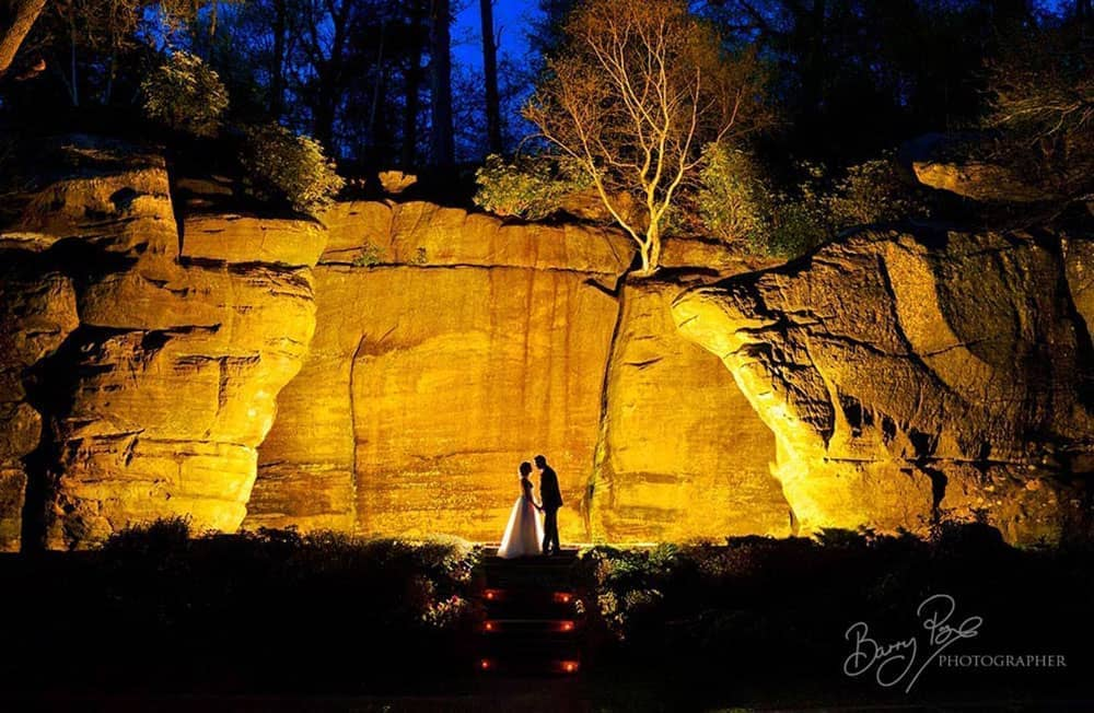 bride and groom at high rocks nightshot