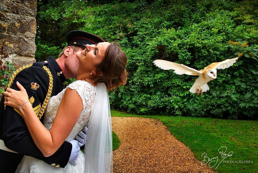 owl flys past bride and groom at church