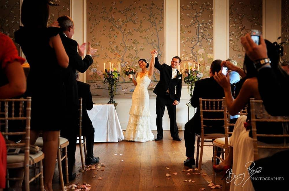 jubilant bride and groom ceremony