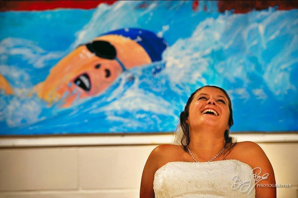 bride laughing art gallery