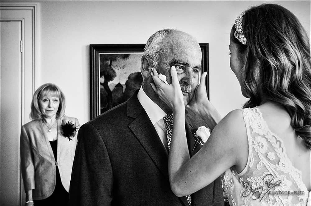 bride wipes father's tears wedding photographer sussex